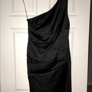 Black Satin Knee Length Gown - Size 10